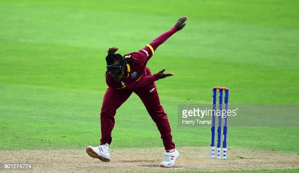 Deandra Dottin of West Indies bowls during the ICC Women's World Cup 2017 match between Australia and West Indies at The Cooper Associates County...