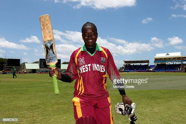 Deandra Dottin of West Indies celebrates her unbeaten 112 during the ICC T20 Women's World Cup Group A match between West Indies and South Africa at...