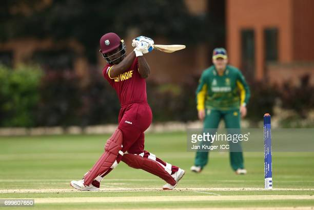 Deandra Dottin of West Indies in action during the ICC Women's World Cup warm up match between West Indies and South Africa at Oakham Schoolon June...
