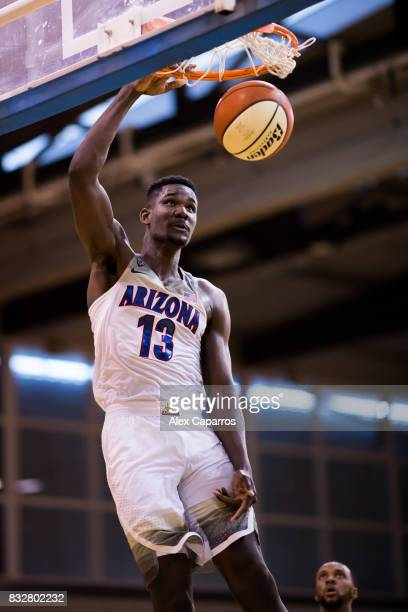 Deandre Ayton of the Arizona Wildcats dunks during the Arizona In Espana Foreign Tour game between Mataro AllStars and Arizona on August 16 2017 in...