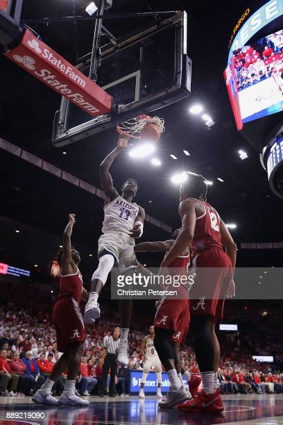 Deandre Ayton of the Arizona Wildcats slam dunks the ball against the Alabama Crimson Tide during the second half of the college basketball game at...