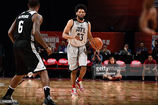 DeAndre Bembry of Atlanta Hawks handles the ball during the game against the Brooklyn Nets during the 2016 Las Vegas Summer League on July 11 2016...