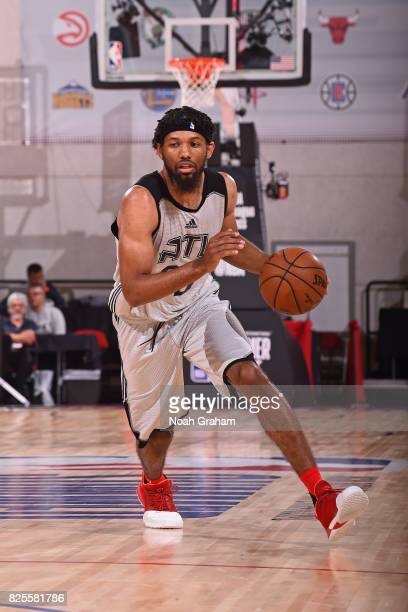 DeAndre Bembry of the Atlanta Hawks dribbles the ball during the 2017 Las Vegas Summer League game against the New Orleans Pelicans on July 12 2017...