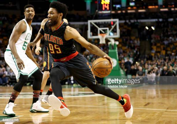DeAndre Bembry of the Atlanta Hawks drives against Jordan Mickey of the Boston Celtics during the fourth quarter at TD Garden on February 27 2017 in...