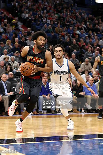 DeAndre Bembry of the Atlanta Hawks drives to the basket during the game against the Minnesota Timberwolves on December 26 2016 at Target Center in...