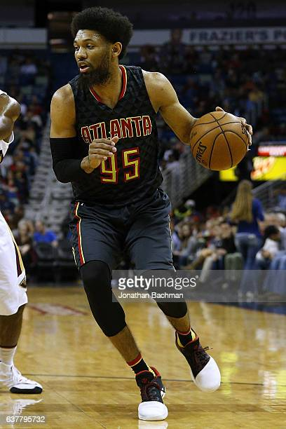 DeAndre Bembry of the Atlanta Hawks drives with the ball during the first half of a game against the New Orleans Pelicans at the Smoothie King Center...