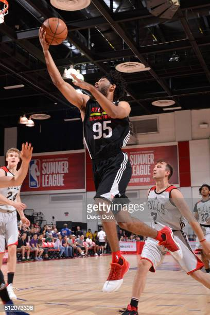 DeAndre' Bembry of the Atlanta Hawks goes to the basket against the Chicago Bulls during the 2017 Las Vegas Summer League on July 10 2017 at the Cox...