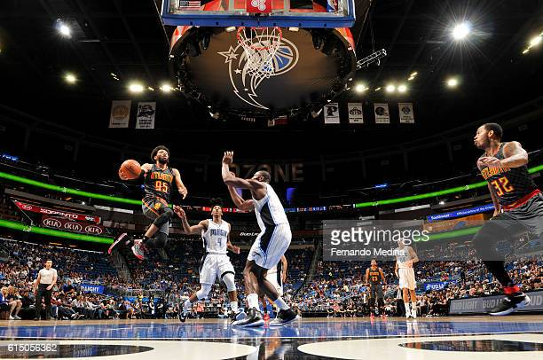 DeAndre Bembry of the Atlanta Hawks goes up for a shot during a preseason game against the Orlando Magic on October 16 2016 at Amway Center in...