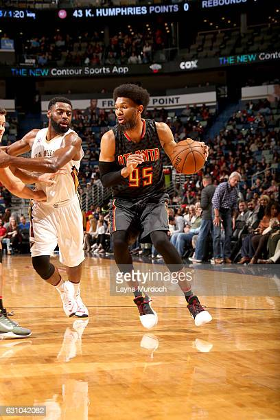 DeAndre Bembry of the Atlanta Hawks handles the ball against the New Orleans Pelicans on January 5 2017 at the Smoothie King Center in New Orleans...