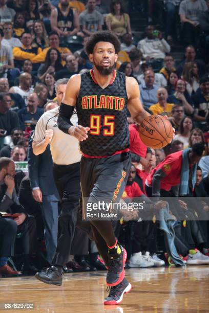 DeAndre Bembry of the Atlanta Hawks handles the ball against the Indiana Pacers on April 12 2017 at Bankers Life Fieldhouse in Indianapolis Indiana...