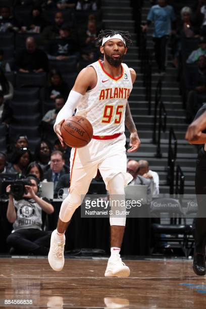 DeAndre' Bembry of the Atlanta Hawks handles the ball against the Brooklyn Nets on December 2 2017 at Barclays Center in Brooklyn New York NOTE TO...