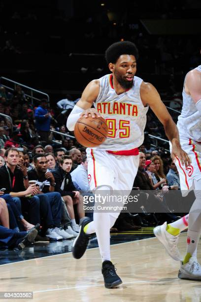 DeAndre Bembry of the Atlanta Hawks handles the ball against the Denver Nuggets during the game on February 8 2017 at Philips Arena in Atlanta...