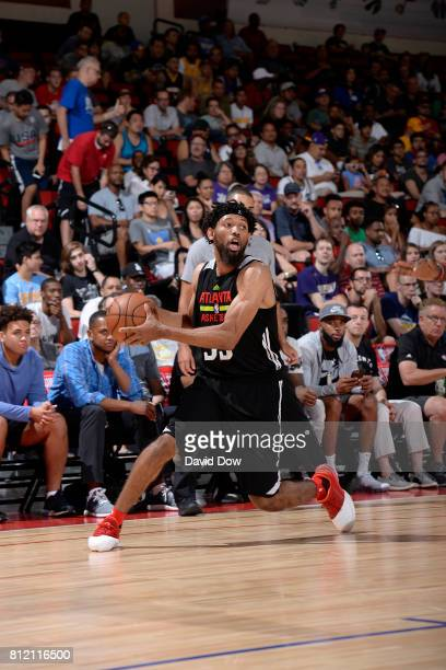 DeAndre' Bembry of the Atlanta Hawks handles the ball against the Chicago Bulls during the 2017 Las Vegas Summer League on July 10 2017 at the Cox...