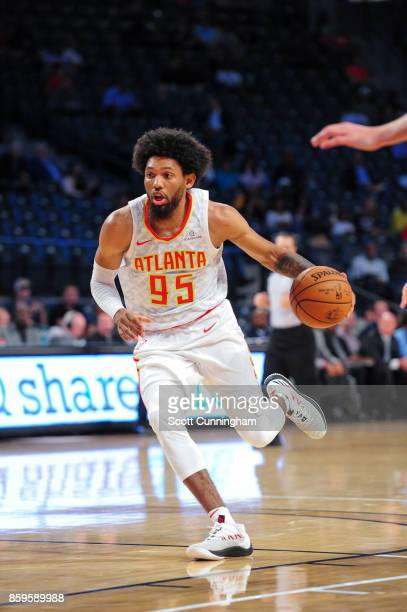 DeAndre' Bembry of the Atlanta Hawks handles the ball during the 201718 NBA preseason game against the Memphis Grizzlies on October 9 2017 at...