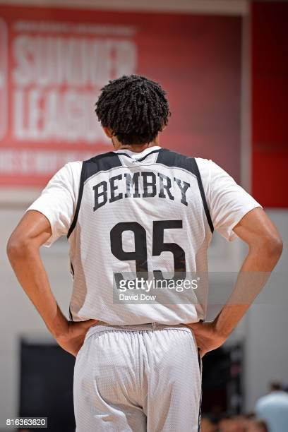 DeAndre' Bembry of the Atlanta Hawks looks downcourt against the Brooklyn Nets during the 2017 Las Vegas Summer League on July 7 2017 at the Cox...