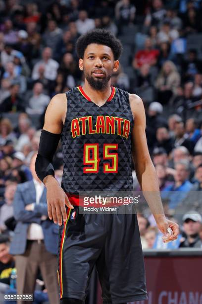 DeAndre' Bembry of the Atlanta Hawks looks on during the game against the Sacramento Kings on February 10 2017 at Golden 1 Center in Sacramento...