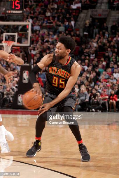 DeAndre Bembry of the Atlanta Hawks passes the ball against the Portland Trail Blazers on February 13 2017 at the Moda Center in Portland Oregon NOTE...
