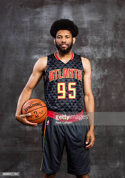 Deandre Bembry of the Atlanta Hawks poses for a portrait during the 2016 NBA Rookie Photoshoot at Madison Square Garden Training Center on August 7...