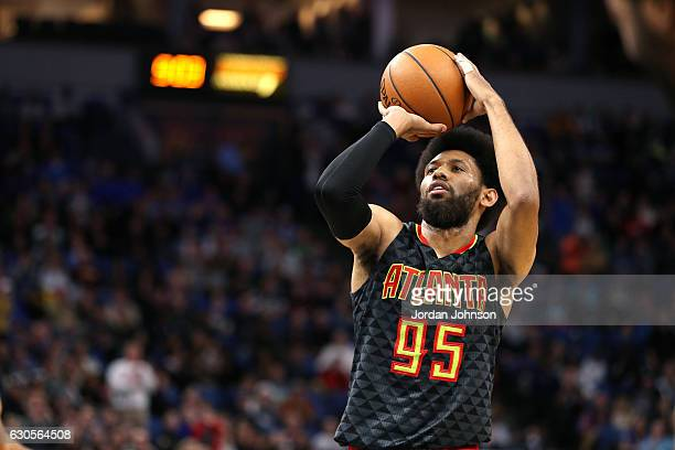 DeAndre Bembry of the Atlanta Hawks shoots a free throw during the game against the Minnesota Timberwolves on December 26 2016 at Target Center in...