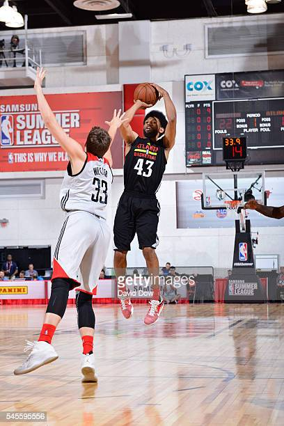 DeAndre' Bembry of the Atlanta Hawks shoots the ball against the Houston Rockets during the 2016 NBA Las Vegas Summer League game on July 8 2016 at...