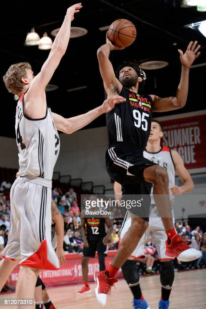 DeAndre' Bembry of the Atlanta Hawks shoots the ball against the Chicago Bulls during the 2017 Las Vegas Summer League on July 10 2017 at the Cox...