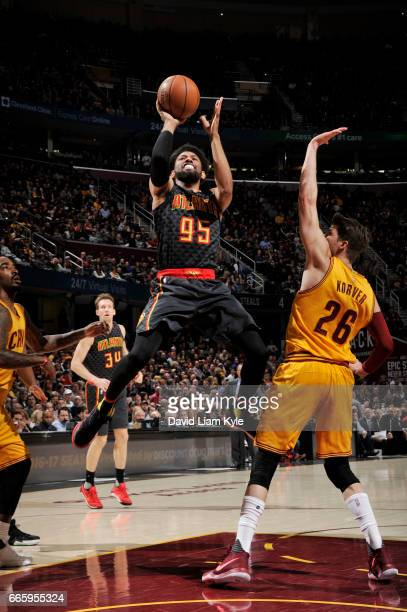 DeAndre Bembry of the Atlanta Hawks shoots the ball during a game against the Cleveland Cavaliers on April 7 2017 at Quicken Loans Arena in Cleveland...