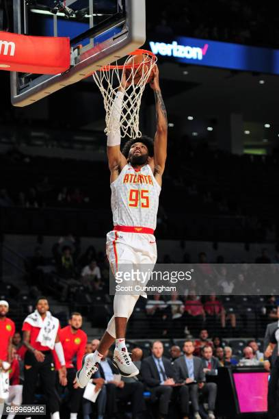 DeAndre' Bembry of the Atlanta Hawks shoots the ball during the 201718 NBA preseason game against the Memphis Grizzlies on October 9 2017 at McCamish...