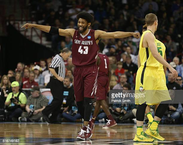 DeAndre Bembry of the Saint Joseph's Hawks reacts against hte Oregon Ducks in the first half during the second round of the 2016 NCAA Men's...