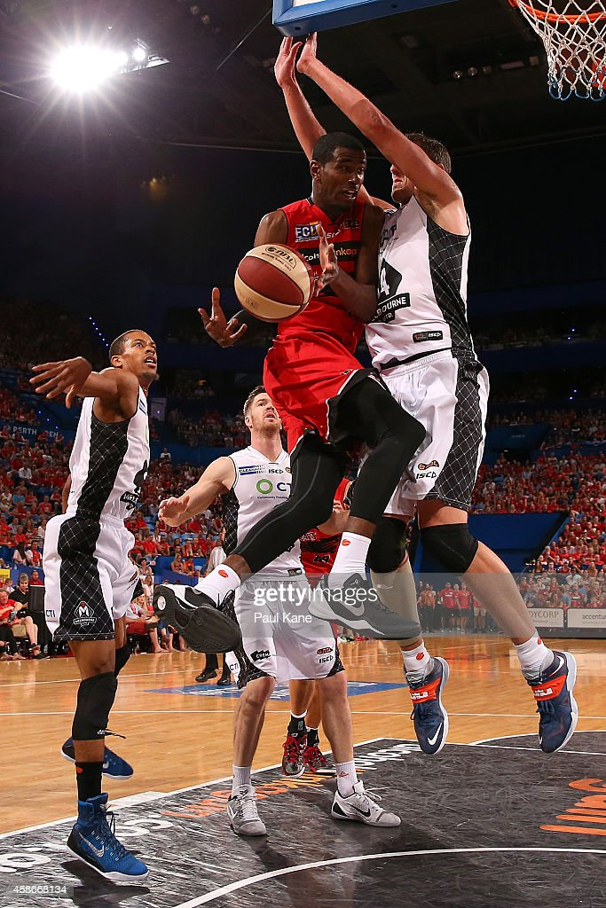 <a gi-track='captionPersonalityLinkClicked' href=/galleries/search?phrase=DeAndre+Daniels&family=editorial&specificpeople=8607612 ng-click='$event.stopPropagation()'>DeAndre Daniels</a> of the Wildcats drives to the basket against Daniel Kickert of United during the round five NBL match between the Perth Wildcats and the Melbourne United at Perth Arena on November 9, 2014 in Perth, Australia.