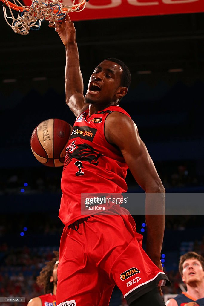 <a gi-track='captionPersonalityLinkClicked' href=/galleries/search?phrase=DeAndre+Daniels&family=editorial&specificpeople=8607612 ng-click='$event.stopPropagation()'>DeAndre Daniels</a> of the Wildcats dunks the ball during the NBL round eight game between the Perth Wildcats and the Cairns Taipans at Perth Arena on November 28, 2014 in Perth, Australia.