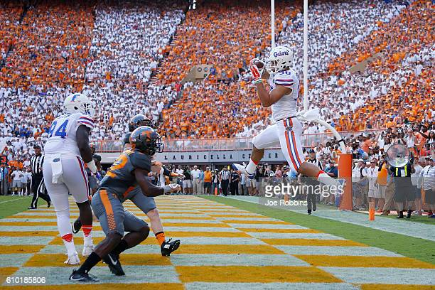 DeAndre Goolsby of the Florida Gators makes a threeyard touchdown reception against the Tennessee Volunteers in the first quarter at Neyland Stadium...