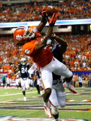 DeAndre Hopkins of the Clemson Tigers pulls in this touchdown reception against Chris Davis of the Auburn Tigers at Georgia Dome on September 1 2012...