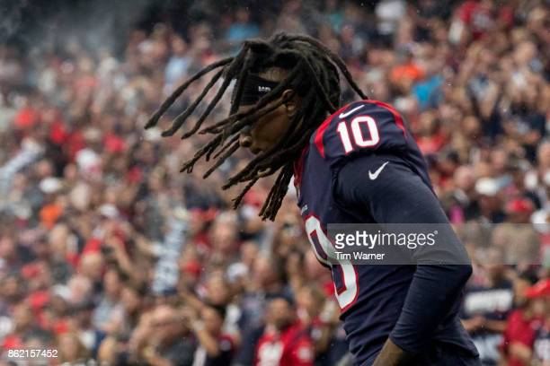 DeAndre Hopkins of the Houston Texans takes the field before the game against the Cleveland Browns at NRG Stadium on October 15 2017 in Houston Texas