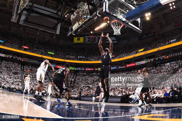 DeAndre Jordan 36 of the LA Clippers grabs a rebound against the Utah Jazz during Game Four of the Western Conference Quarterfinals during the 2017...