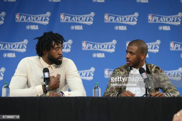 DeAndre Jordan and Chris Paul of the LA Clippers talk to the media during a press conference after Game Six of the Western Conference Quarterfinals...