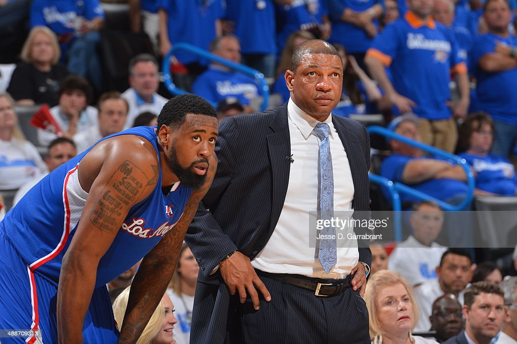 <a gi-track='captionPersonalityLinkClicked' href=/galleries/search?phrase=DeAndre+Jordan&family=editorial&specificpeople=4665718 ng-click='$event.stopPropagation()'>DeAndre Jordan</a> #6 and head coach <a gi-track='captionPersonalityLinkClicked' href=/galleries/search?phrase=Doc+Rivers&family=editorial&specificpeople=206225 ng-click='$event.stopPropagation()'>Doc Rivers</a> of the Los Angeles Clippers during a game against the Oklahoma City Thunder in Game Two of the Western Conference Semifinals during the 2014 NBA Playoffs on May 7, 2014 at the Chesapeake Energy Arena in Oklahoma City, Oklahoma.