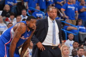 DeAndre Jordan and head coach Doc Rivers of the Los Angeles Clippers during a game against the Oklahoma City Thunder in Game Two of the Western...