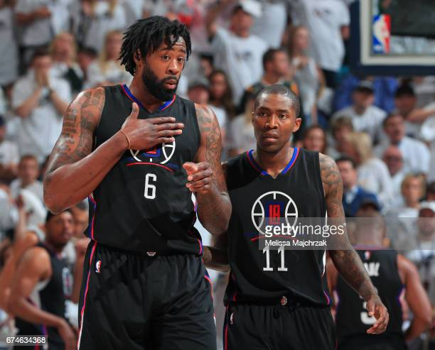 DeAndre Jordan and Jamal Crawford of the LA Clippers talk during the game against the Utah Jazz in Game Six of the Western Conference Quarterfinals...