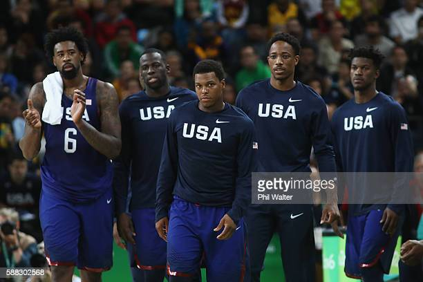 DeAndre Jordan Draymond Green Kyle Lowry Demar DeRozan and Jimmy Butler of United States react during the Men's Preliminary Round Group A between...