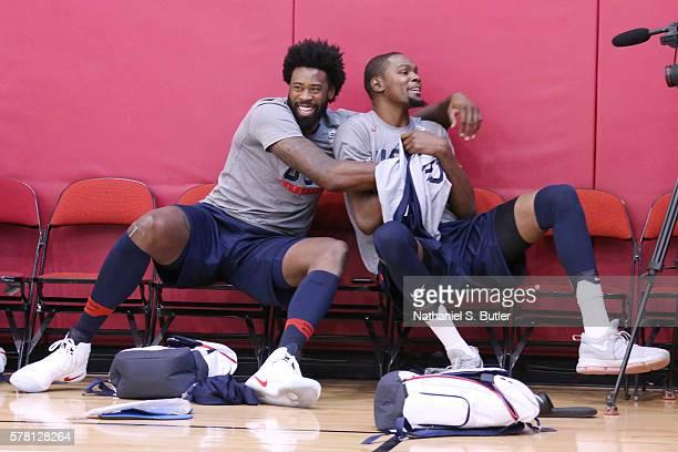 DeAndre Jordan hugs Kevin Durant of the USA Basketball Men's National Team during practice on July 20 2016 at Mendenhall Center on the University of...
