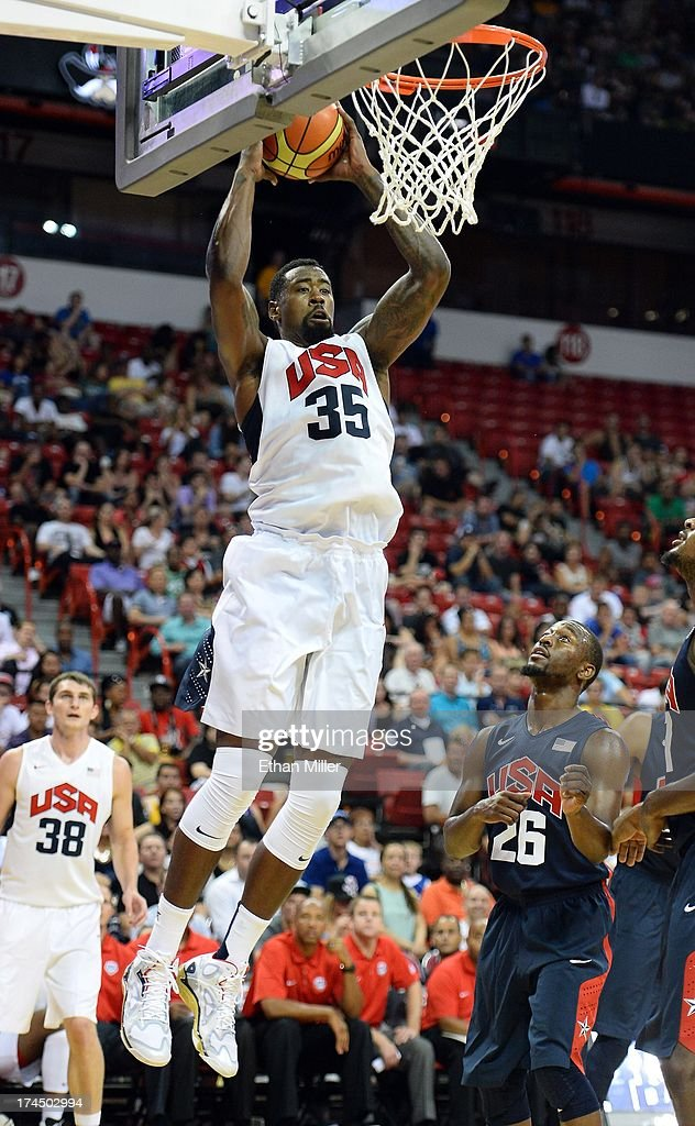 DeAndre Jordan #35 of the 2013 USA Basketball Men's National Team grabs a rebound during a USA Basketball showcase at the Thomas & Mack Center on July 25, 2013 in Las Vegas, Nevada.
