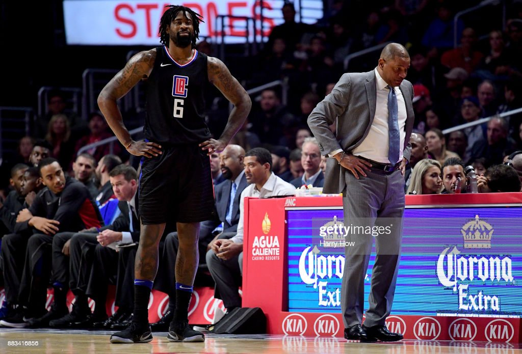 DeAndre Jordan #6 of the LA Clippers and Doc Rivers of the LA Clippers react to a Jordan technical foul during a 126-107 loss to the Utah Jazz at Staples Center on November 30, 2017 in Los Angeles, California.