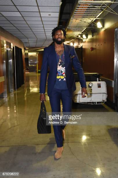 DeAndre Jordan of the LA Clippers arrives before Game Seven of the Western Conference Quarterfinals of the 2017 NBA Playoffs on April 30 2017 at...