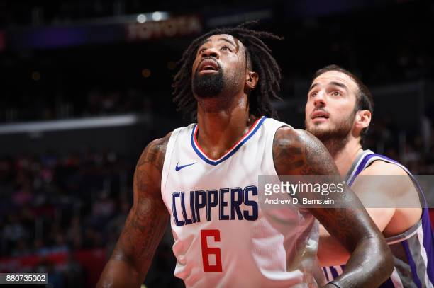 DeAndre Jordan of the LA Clippers boxes out against the Sacramento Kings on October 12 2017 at STAPLES Center in Los Angeles California NOTE TO USER...