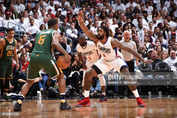DeAndre Jordan of the LA Clippers defends Joe Johnson of the Utah Jazz in Game Five of the Western Conference Quarterfinals of the 2017 NBA Playoffs...