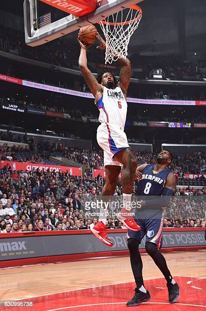 DeAndre Jordan of the LA Clippers dunks against the Memphis Grizzlies on January 4 2017 at STAPLES Center in Los Angeles California NOTE TO USER User...