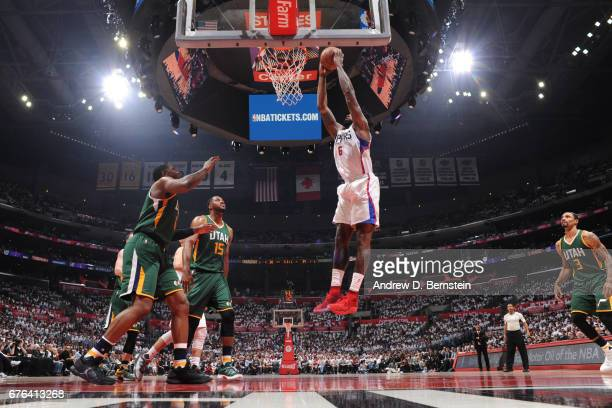 DeAndre Jordan of the LA Clippers dunks the ball against the Utah Jazz during Game Seven of the Western Conference Quarterfinals of the 2017 NBA...