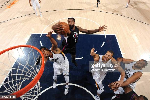 DeAndre Jordan of the LA Clippers gets the rebound during the game against the Utah Jazz in Game Four during the Western Conference Quarterfinals of...