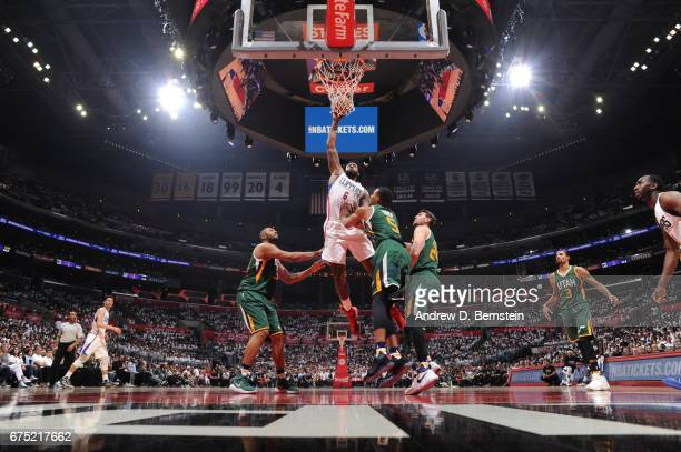 DeAndre Jordan of the LA Clippers goes up for a dunk against the Utah Jazz during Game Seven of the Western Conference Quarterfinals of the 2017 NBA...
