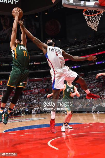 DeAndre Jordan of the LA Clippers goes up for a rebound against the Utah Jazz during Game Seven of the Western Conference Quarterfinals of the 2017...